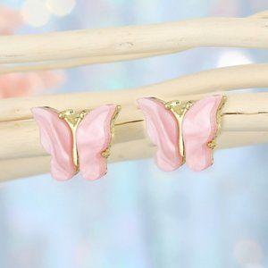 3/$20 Pink & Gold Resin Butterfly Stud Earrings